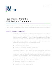 Four Themes from the 2019 Becker's Conference | B E  Smith